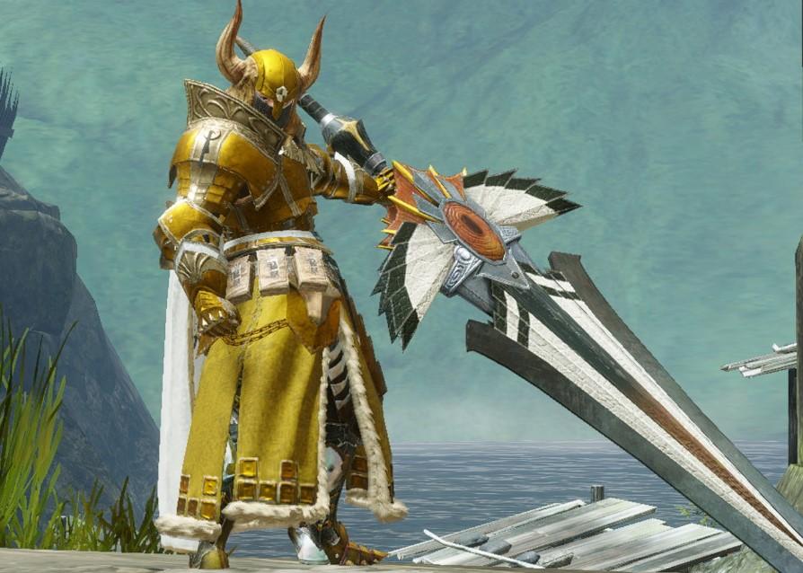 モンスターハンターライズの黄金騎士重ね着